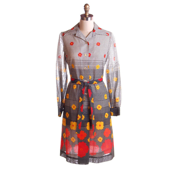 Vintage Dress Op Art J. Tiktiner France 1970s - The Best Vintage Clothing  - 1