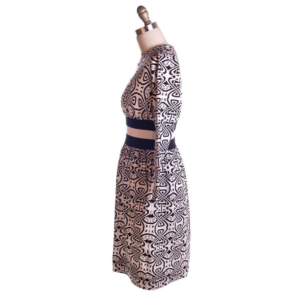 Vintage Black & White Art Nouveau Dress Goldworm 1970S - The Best Vintage Clothing  - 4