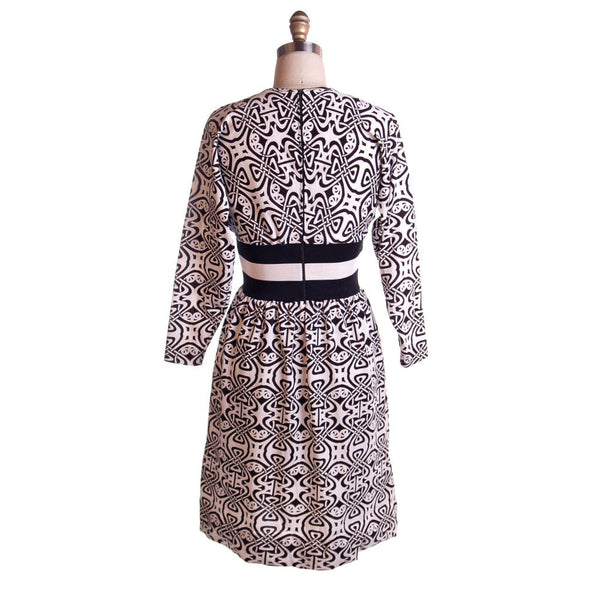 Vintage Black & White Art Nouveau Dress Goldworm 1970S - The Best Vintage Clothing  - 2