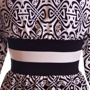 Vintage Black & White Art Nouveau Dress Goldworm 1970S - The Best Vintage Clothing  - 1