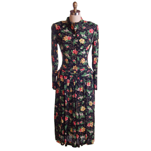 Vintage Printed Rayon Dropped Waist  Dress Jonathan Logan 1940'S NOS 36-26-Free - The Best Vintage Clothing  - 4