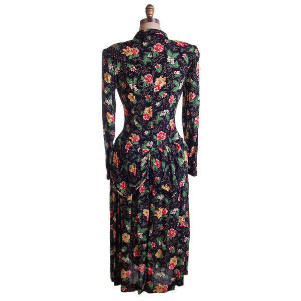 Vintage Printed Rayon Dropped Waist  Dress Jonathan Logan 1940'S NOS 36-26-Free - The Best Vintage Clothing  - 3