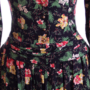 Vintage Printed Rayon Dropped Waist  Dress Jonathan Logan 1940'S NOS 36-26-Free - The Best Vintage Clothing  - 1