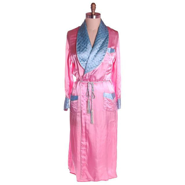 Vintage Ladies Robe Pink /Blue Rayon Satin 1940s Western Style M-L - The Best Vintage Clothing  - 1