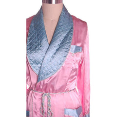 Vintage Ladies Robe Pink /Blue Rayon Satin 1940s Western Style M-L - The Best Vintage Clothing  - 4
