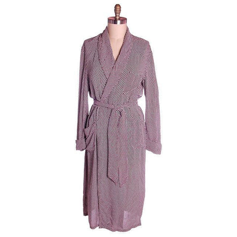 Vintage Unisex Rayon Robe Polka Dot Marvin-Tex 1940s Maroon M-L - The Best Vintage Clothing  - 1