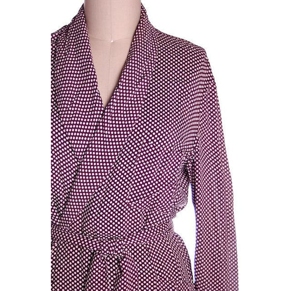 Vintage Unisex Rayon Robe Polka Dot Marvin-Tex 1940s Maroon M-L - The Best Vintage Clothing  - 5
