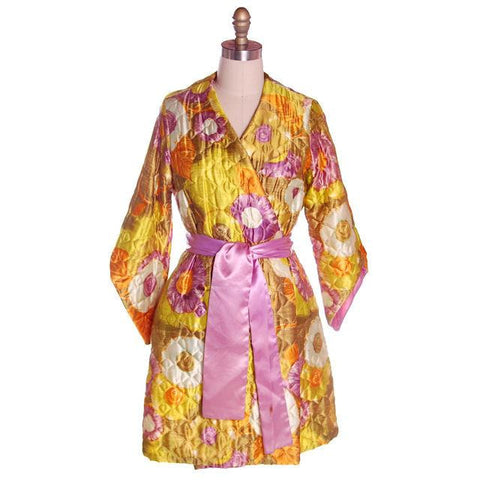 Vintage Quilted Short Robe Floral Satin Sears Brand Never Worn 1960s Medium