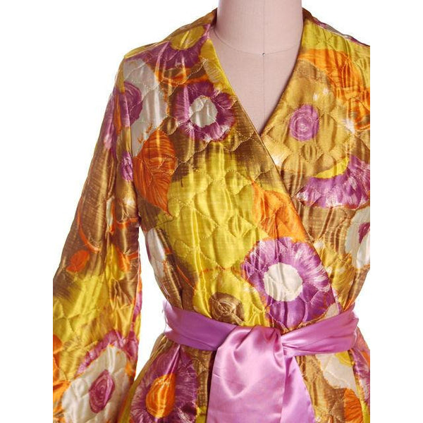 Vintage Quilted Short Robe Floral Satin Sears Brand Never Worn 1960s Medium - The Best Vintage Clothing  - 3