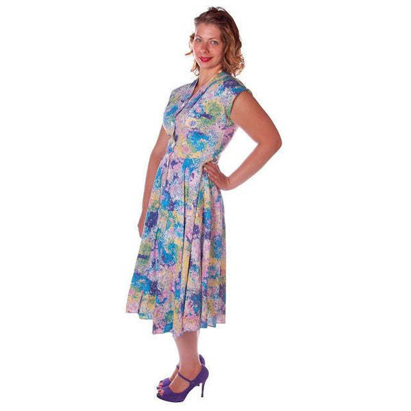 Vintage Day Dress Pastel Printed  Cotton Full Skirt 1950s Sz 12 - The Best Vintage Clothing  - 3