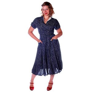Vintage Blue Linen Day Dress Full Skirt 1950 38 Bust - The Best Vintage Clothing  - 1