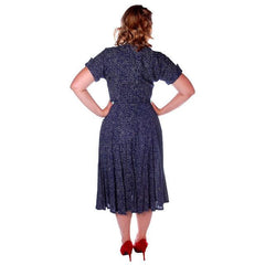 Vintage Blue Linen Day Dress Full Skirt 1950 38 Bust - The Best Vintage Clothing  - 3