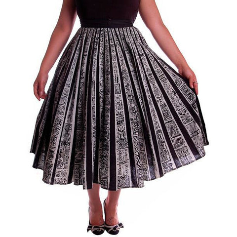 "Vintage Circle Skirt Black/White Sun Ray Hand Painted Mexico Tel-Art 29"" Waist"