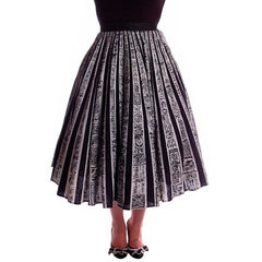 "Vintage Circle Skirt Black/White Sun Ray Hand Painted Mexico Tel-Art 29"" Waist - The Best Vintage Clothing  - 2"