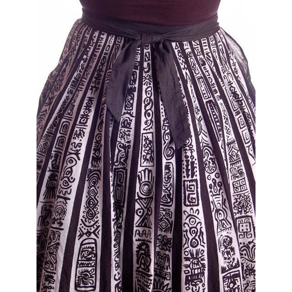 "Vintage Circle Skirt Black/White Sun Ray Hand Painted Mexico Tel-Art 29"" Waist - The Best Vintage Clothing  - 4"