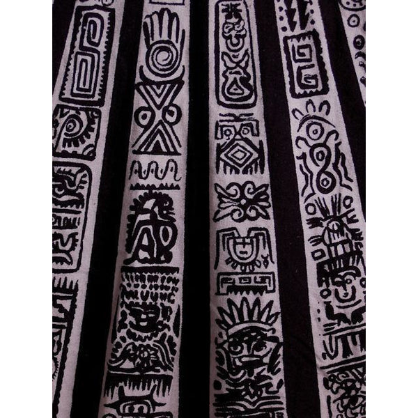 "Vintage Circle Skirt Black/White Sun Ray Hand Painted Mexico Tel-Art 29"" Waist - The Best Vintage Clothing  - 5"