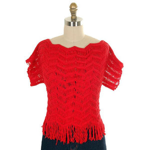 Vintage Sweater Red Open Weave Fringed  Ladies Red Organically Grown 1980s S - The Best Vintage Clothing  - 1