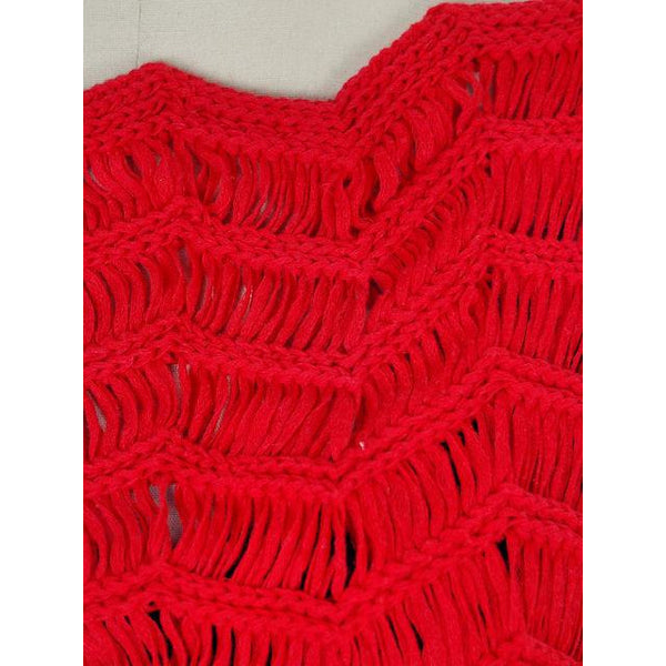 Vintage Sweater Red Open Weave Fringed  Ladies Red Organically Grown 1980s S - The Best Vintage Clothing  - 4