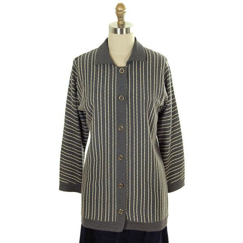 Vintage Cardigan Sweater Gray & Ivory Stripes Wool 1960s Tunic Style  Italy