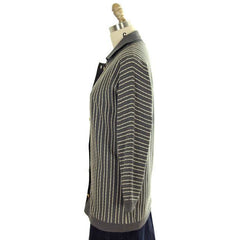 Vintage Cardigan Sweater Gray & Ivory Stripes Wool 1960s Tunic Style  Italy - The Best Vintage Clothing  - 2