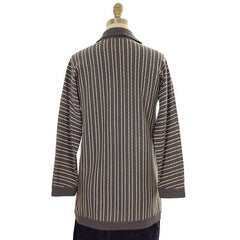 Vintage Cardigan Sweater Gray & Ivory Stripes Wool 1960s Tunic Style  Italy - The Best Vintage Clothing  - 3