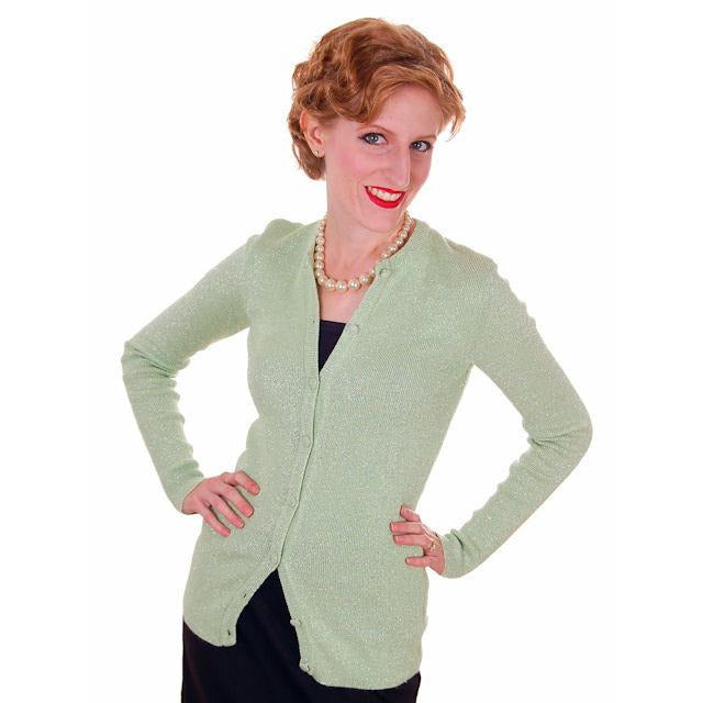 Vintage Cardigan Sweater Pale Green/Silver Metallic Oscar De La Renta 1970s M - The Best Vintage Clothing  - 1