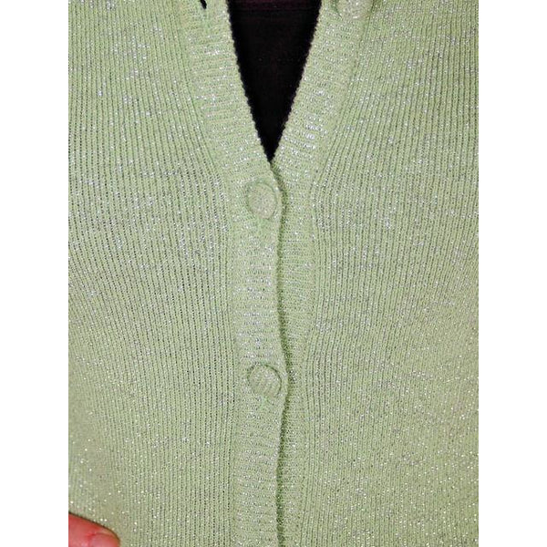 Vintage Cardigan Sweater Pale Green/Silver Metallic Oscar De La Renta 1970s M - The Best Vintage Clothing  - 4