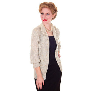 Vintage Sweater Ivory Pearl Studded Metallic Evening Cardigan by Ethel 1950s M - The Best Vintage Clothing  - 1