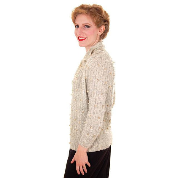 Vintage Sweater Ivory Pearl Studded Metallic Evening Cardigan by Ethel 1950s M - The Best Vintage Clothing  - 2
