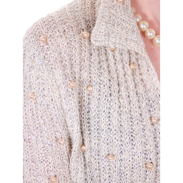 Vintage Sweater Ivory Pearl Studded Metallic Evening Cardigan by Ethel 1950s M - The Best Vintage Clothing  - 3
