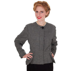 Vintage Ladies Herringbone Tweed Wool Peplum  Blazer Guy Laroche 1980s - The Best Vintage Clothing  - 2