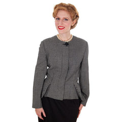 Vintage Ladies Herringbone Tweed Wool Peplum  Blazer Guy Laroche 1980s - The Best Vintage Clothing  - 3