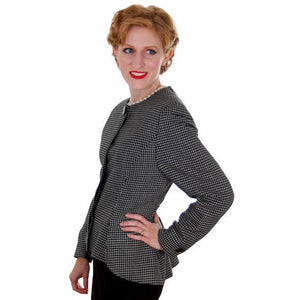 Vintage Ladies Herringbone Tweed Wool Peplum  Blazer Guy Laroche 1980s - The Best Vintage Clothing  - 1