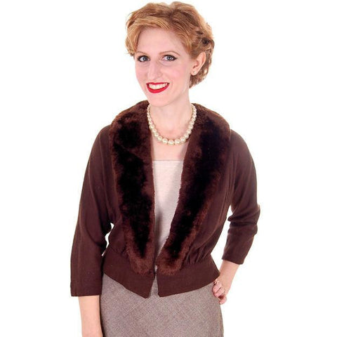 Vintage Brown Wool Sweater Jacket w/ Mouton Fur Trim 1950s Medium