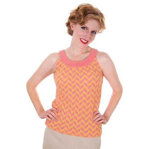 Vintage Sweater Tank Style 1960s Coral Yellow Wool Knit Unique Small - The Best Vintage Clothing  - 1