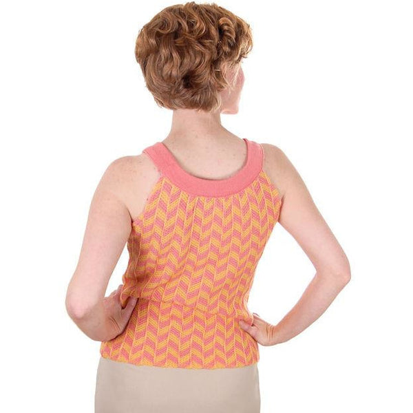 Vintage Sweater Tank Style 1960s Coral Yellow Wool Knit Unique Small - The Best Vintage Clothing  - 3