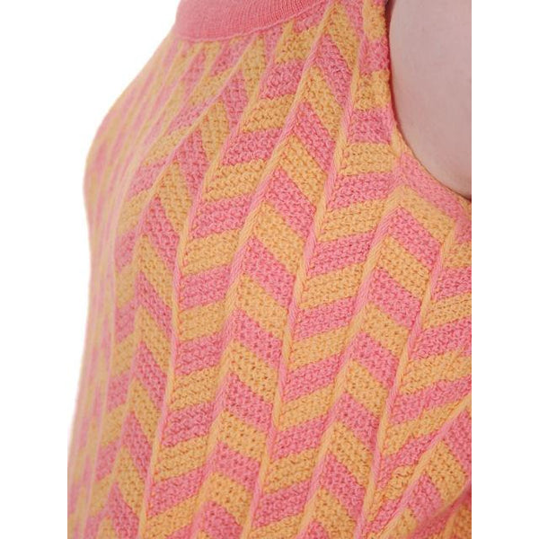Vintage Sweater Tank Style 1960s Coral Yellow Wool Knit Unique Small - The Best Vintage Clothing  - 5