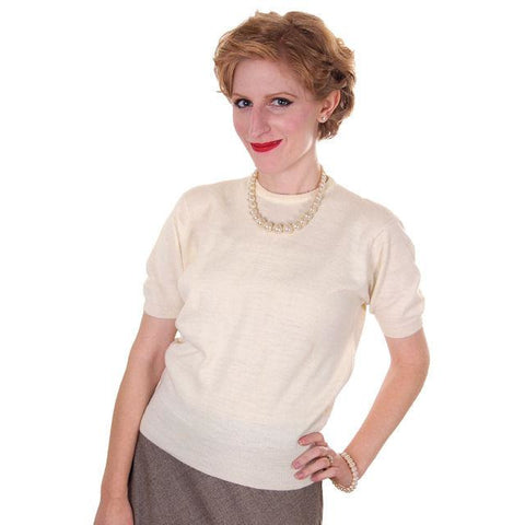 Vintage  Sweater Ivory Short Sleeved Ribbed Waistband Small