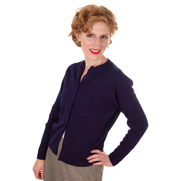 Vintage Cardigan Sweater Navy Blue Orlon 1960s S-M - The Best Vintage Clothing  - 1