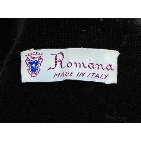 Vintage Ladies Wool Sweater Black Romana Italy Great Details 1950s Small - The Best Vintage Clothing  - 4
