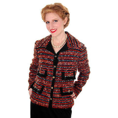 Vintage Ladies Blazer Jacket Orange/Grey Mohair Tweed Davidow 1970s - The Best Vintage Clothing  - 1