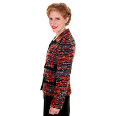 Vintage Ladies Blazer Jacket Orange/Grey Mohair Tweed Davidow 1970s - The Best Vintage Clothing  - 2