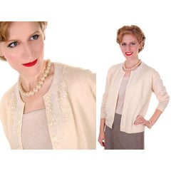 Vintage Cream Colored Wool/Angora Beaded Cardigan Sweater 1950s Lg - The Best Vintage Clothing  - 2