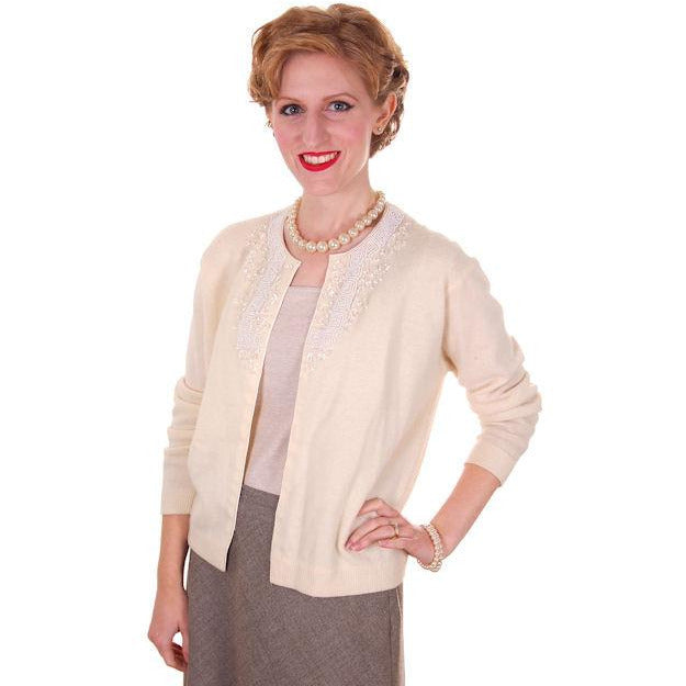 Vintage Cream Colored Wool/Angora Beaded Cardigan Sweater 1950s Lg - The Best Vintage Clothing  - 1