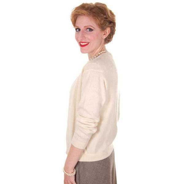 Vintage Cream Colored Wool/Angora Beaded Cardigan Sweater 1950s Lg - The Best Vintage Clothing  - 3