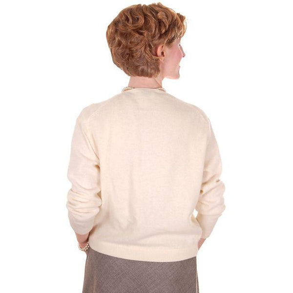 Vintage Cream Colored Wool/Angora Beaded Cardigan Sweater 1950s Lg - The Best Vintage Clothing  - 4