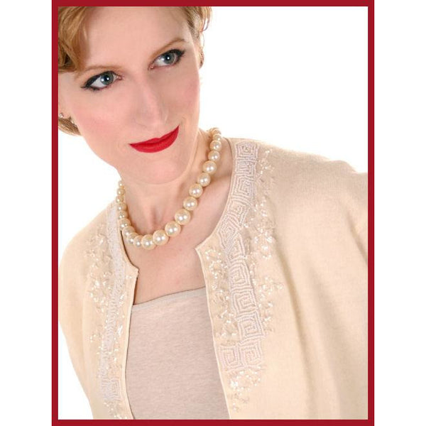Vintage Cream Colored Wool/Angora Beaded Cardigan Sweater 1950s Lg - The Best Vintage Clothing  - 6