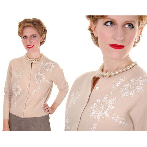 Vintage Taupe Cashmere Beaded Cardigan Sweater 1950s Small-Med - The Best Vintage Clothing  - 2