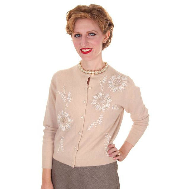 Vintage Taupe Cashmere Beaded Cardigan Sweater 1950s Small-Med - The Best Vintage Clothing  - 1