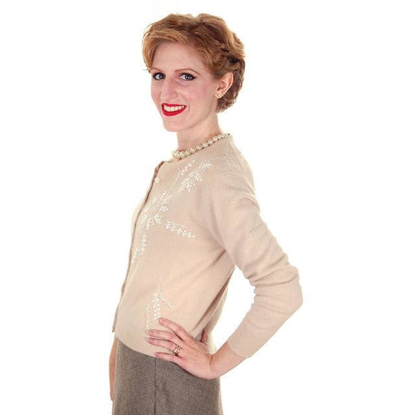 Vintage Taupe Cashmere Beaded Cardigan Sweater 1950s Small-Med - The Best Vintage Clothing  - 3